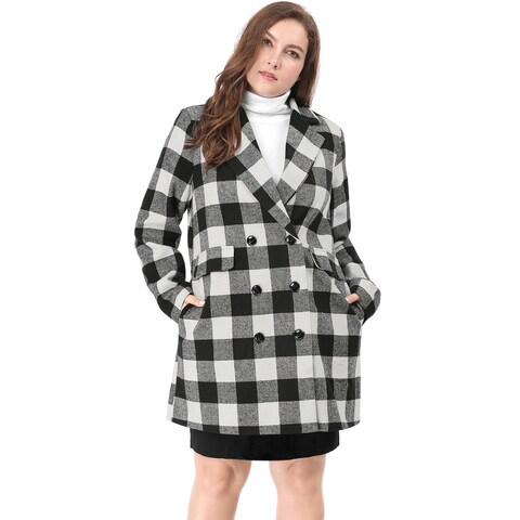 Allegra K Women Plus Size Double Breasted Turn Down Collar Plaids Worsted Coat - Black