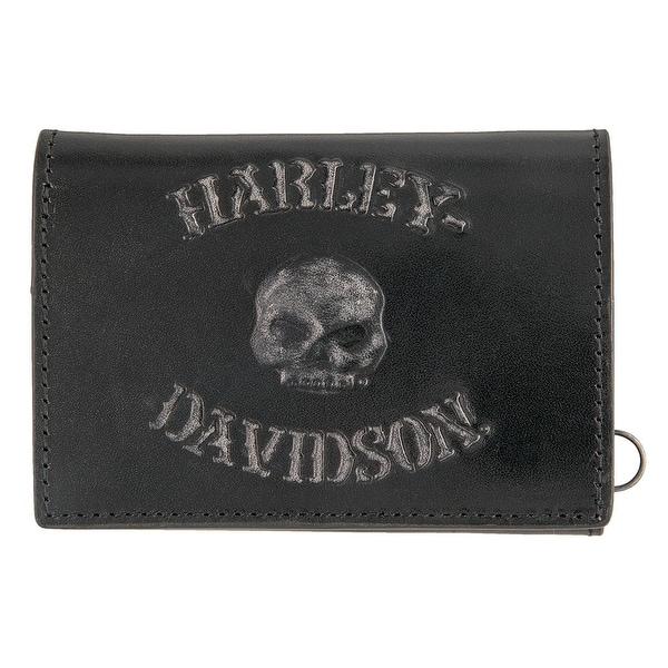 "Harley-Davidson Men's Bad Company Skull Tri-Fold Leather Wallet HDMWA11327-BLK - 4.5"" x 3"""