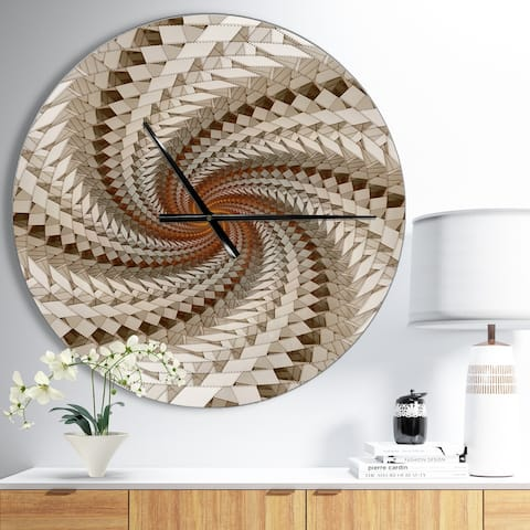 Designart 'White Fractal Spiral Pattern' Oversized Modern Wall CLock