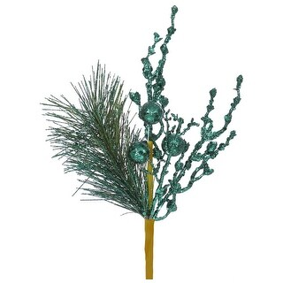 """13"""" Sparkling Emerald Green Glittered Ball and Pine Christmas Spray"""
