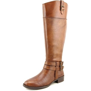 INC International Concepts Fahnee Wide Calf Women Leather Brown Knee High Boot