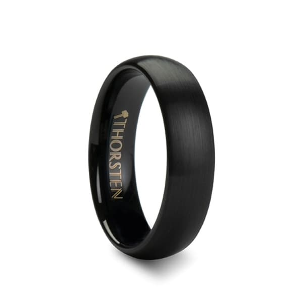 THORSTEN - AUGUSTA Ladies Domed Black Tungsten Ring with Brushed Finish - 6mm