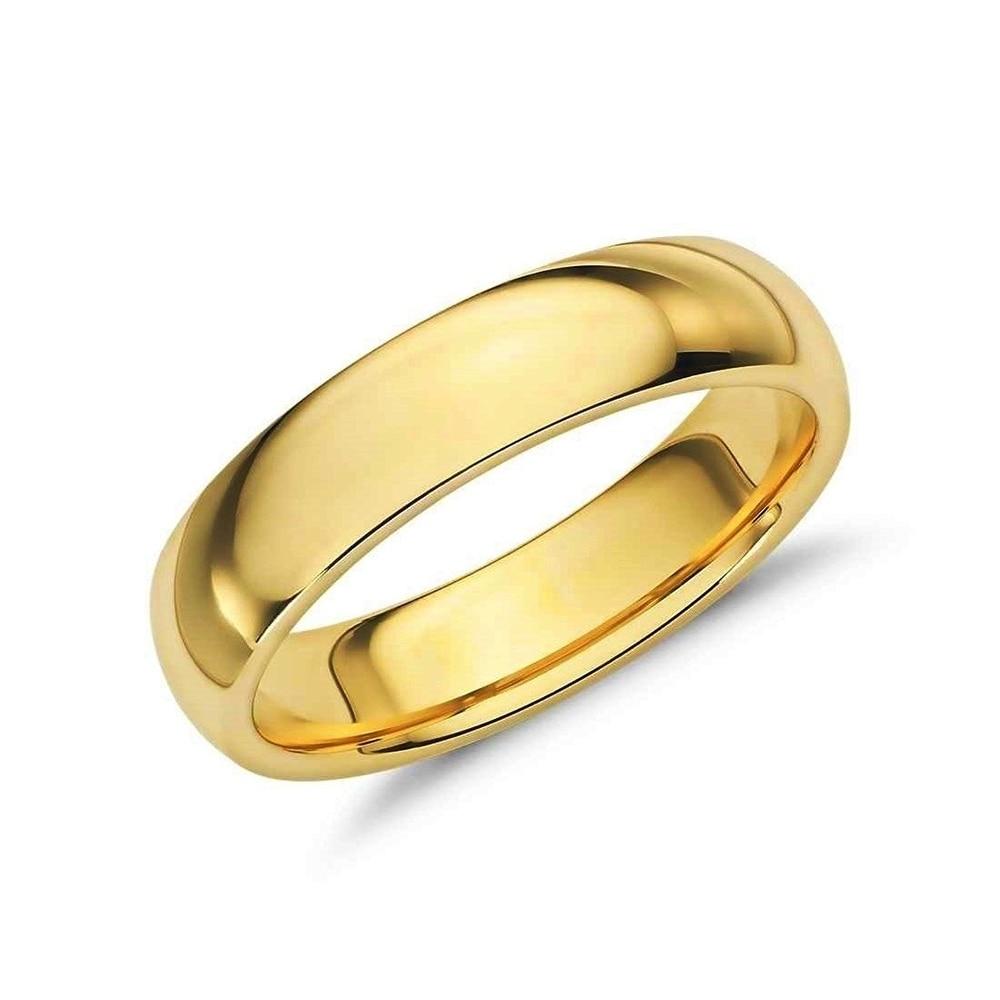 10K Yellow Gold mens and womens plain wedding bands 2mm flat comfort-fit light 5.75