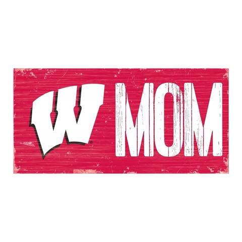"Wisconsin Badgers Mom 12"" x 6"" Sign"