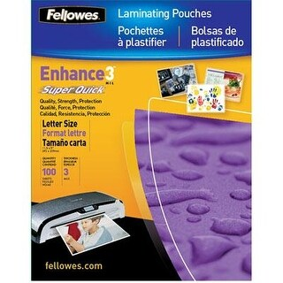 "Fellowes Laminating Pouches, Thermal, Superquick 11.5""(H) X 9""(W) Size, 3 Mil, 100 Pack (5245801)"