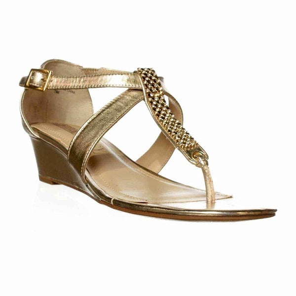 Ellen Tracy Alden Wedge Sandals - Shimmer Taupe - 6.5
