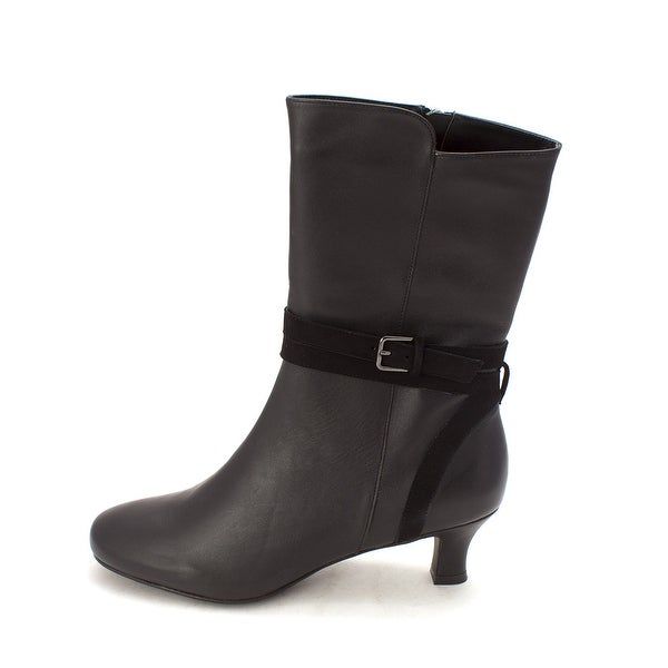ARRAY Womens Heather Leather Round Toe Mid-Calf Fashion Boots