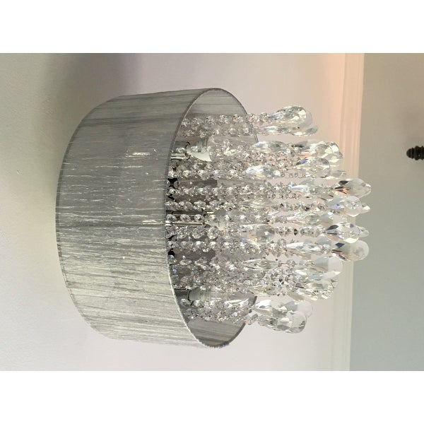 Silver And Crystal 15 W Ceiling Light Chandelier Pendant Flush Mount On Free Shipping Today 12493274