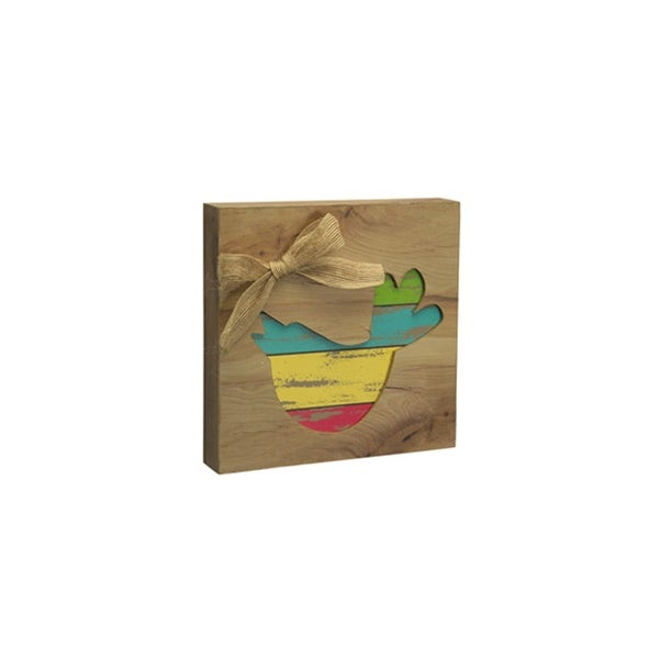 """7.75"""" Brown and Yellow Bird Cut Out Spring Wall Plaque - N/A"""