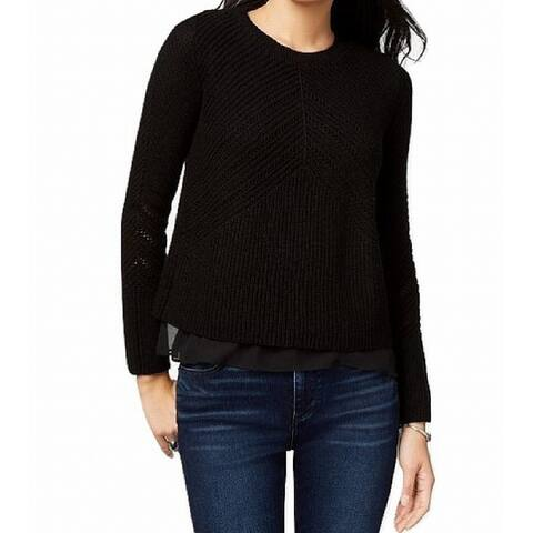 Lucky Brand Women's Black Size Medium M Ribbed Knit Pullover Sweater