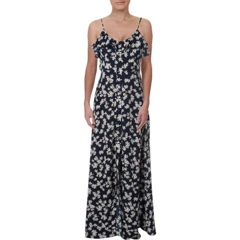 Aqua Womens Maxi Dress Floral Ruffled - Navy