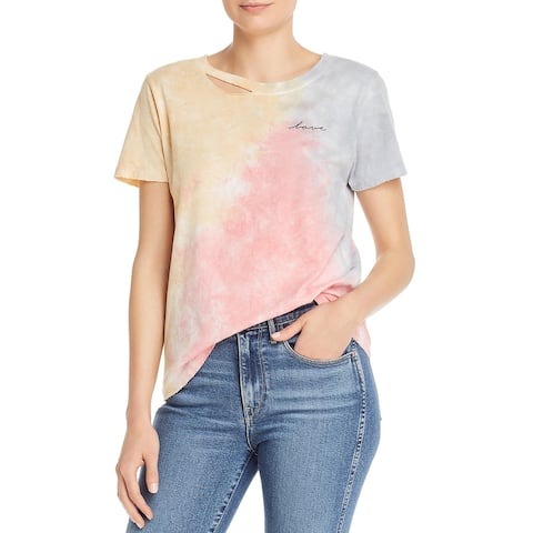 Philanthropy Womens Love Slogan T-Shirt Cotton Tie-Dye - Multi - M