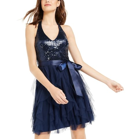 Teeze Me Juniors' Sequin-Top Ruffled Dress Blue Size 9