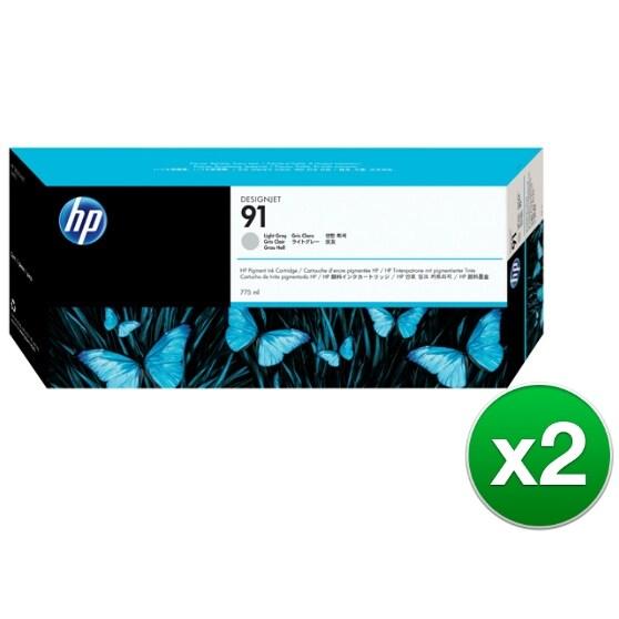 HP 91 775-ml Light Gray DesignJet Pigment Ink Cartridge (C9466A) (2-Pack)