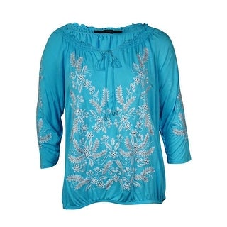 INC International Concept Women's Embroidered Peasant Top