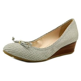 Cole Haan Air Tali Lace Wedge Women Open Toe Leather Gray Wedge Heel