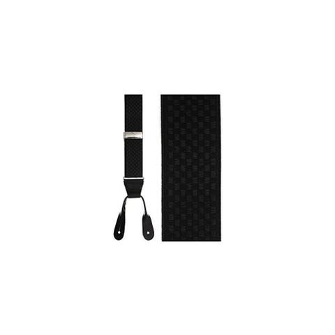 Checkers Leather End Suspenders in Black