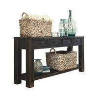 Ashley T732-4 Gavelston Black Sofa Table w/ Antiqued Bronze-Tone Hardware