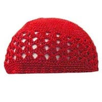 Crocheted Knit Beanie Domes- Red