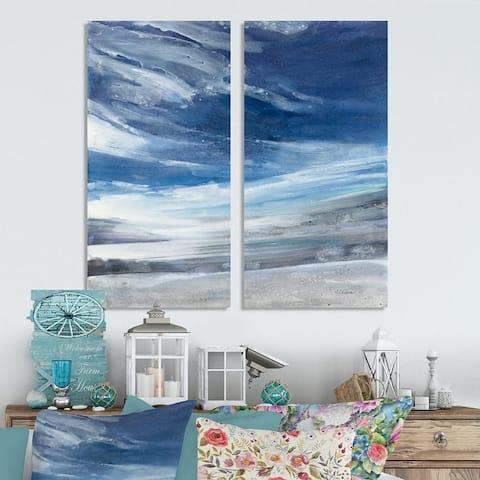 Designart 'The Lake' Modern Canvas Wall Art Print 2 Piece Set