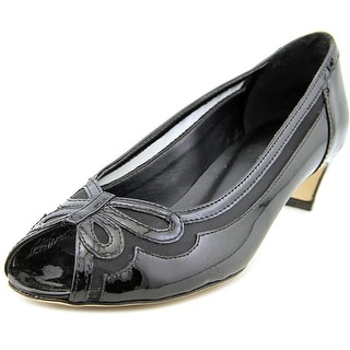 Vaneli Birdine Women N/S Peep-Toe Leather Black Heels