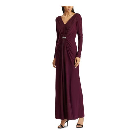RALPH LAUREN Purple Long Sleeve Maxi Sheath Dress Size 4