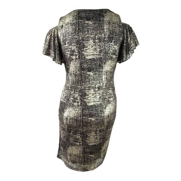 Msk Women\'s Plus Size Cold-Shoulder Faux-Wrap Dress (1X, Black/Gold) -  Black/ Gold - 1X
