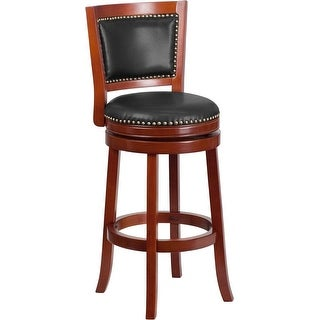 Estella 30'' Panel Back Dark Cherry Wood Bar Stool w/Walnut Leather