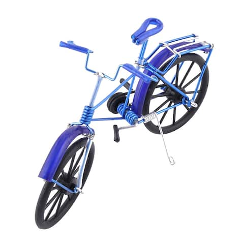 Aluminium Alloy Vintage Style Table Desk Decor Handmade Toy Gift Bicycle Model - Royal Blue,black