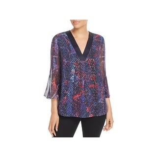 Elie Tahari Womens Pullover Top Silk Metallic