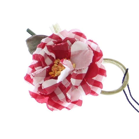 Dolce & Gabbana Red Checkered Flower Cotton Women's Brooch - One Size
