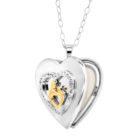 Crystaluxe Mother & Child Heart Locket with Swarovski Crystals in 18K Gold-Plated Sterling Silver - White