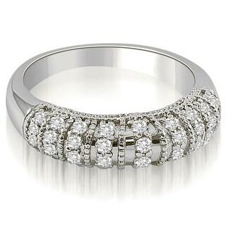 0.45 CT.TW Antique Style Milgrain Round Cut Diamond Wedding Band In 14KT Gold