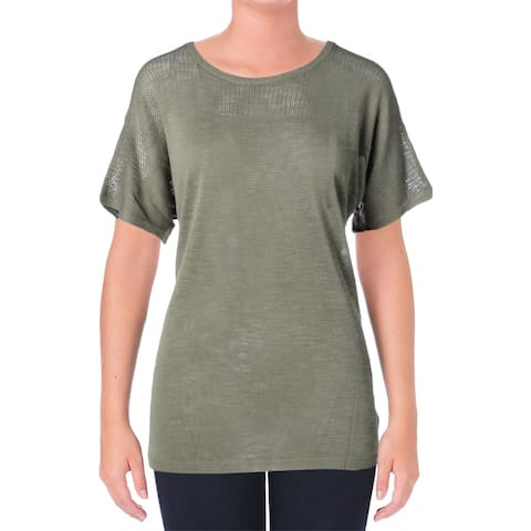 NYDJ Womens Pullover Sweater Lightweight Short Sleeves