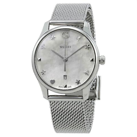 Gucci Women's YA126583 'G-Timeless' Stainless Steel Watch - Silver