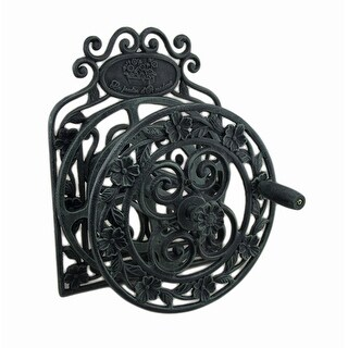 Elegant Floral Verdigris Patina Wall Mounted Cast Iron Hose Reel