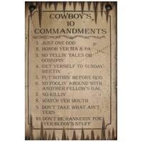 Cowboy Signs Wood Wall Hanging Cowboys 10 Commandments White