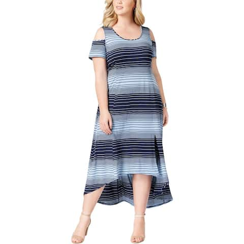 9c459a3291 NY Collection Womens Plus Midi Dress Cold Shoulder Striped