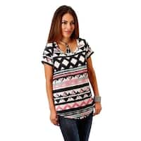 Roper Western Shirt Womens S/S Print White Black