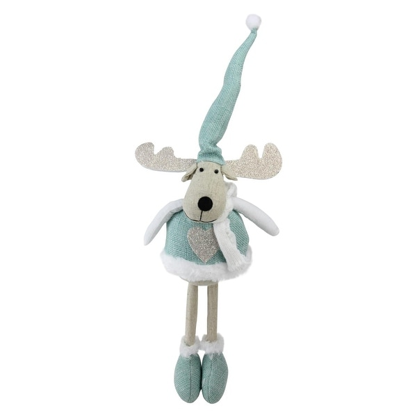 "18"" Teal and White Standing Moose Tabletop Decoration"