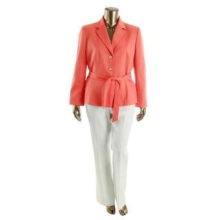 Tahari ASL Womens Melia Notch Collar 2PC Pant Suit
