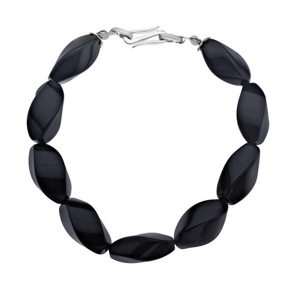 124 ct Onyx Bead Bracelet in Sterling Silver - Black