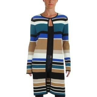Calvin Klein Womens Petites Jacket Colorblock Long