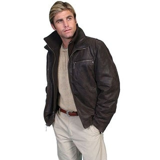 Scully Western Jacket Mens Lambskin Zip Removable Brown 400-63