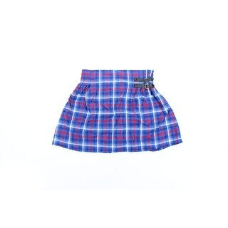Womens Blue Red Plaid Above The Knee A-Line Skirt Juniors Size XL