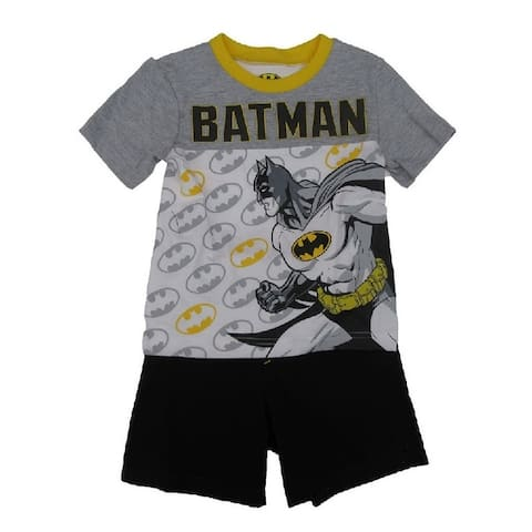 Dc Comics Little Boys White Grey Batman Short Sleeve 2 Pc Outfit