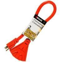 Coleman Cable 990824 Orange Powerblock Extension Cord, 2'