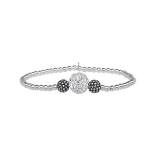 Beaded Stretch Bracelet with Swarovski Crystals in Sterling Silver - White