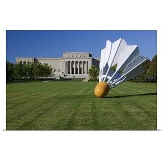 Poster Print entitled Gaint shuttlecock sculpture in front of a museum, Nelson Atkins Museum of Art, Kansas City,