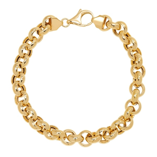 Just Gold 8 mm Rolo Link Chain Bracelet in 14K Gold - Yellow